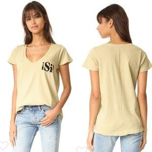 Wildfox Si Embroidered Tan Distressed V-Neck Tee